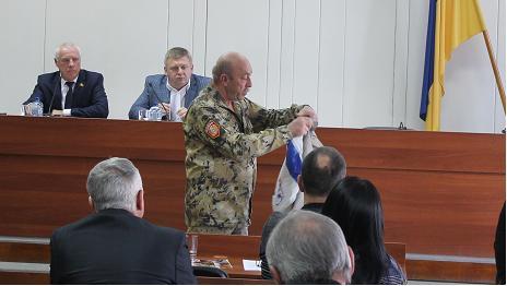 В Павлоградском горсовете развернули флаг ДНР