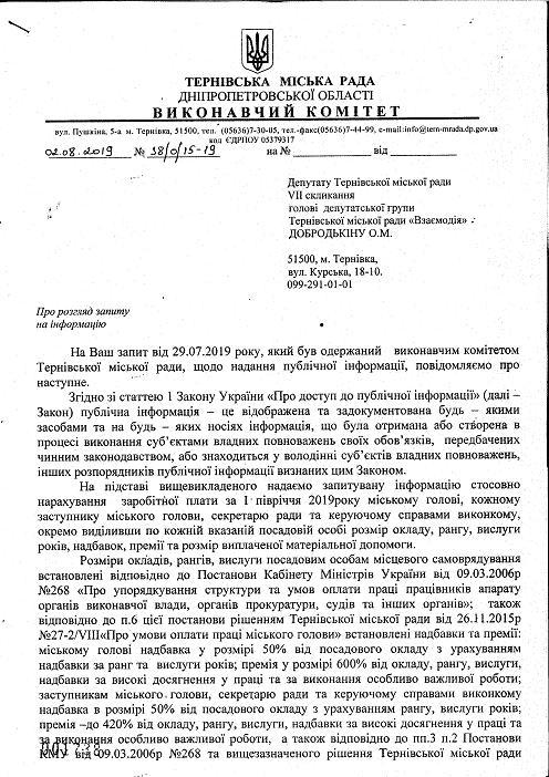 Зарплата терновского городского головы  будет уменьшена до скромных 70 тыс. гривен