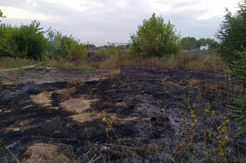 За сутки спасатели тушили возгорание сухой травы в Терновке и Павлограде шесть раз