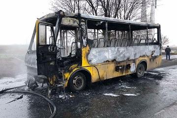 Еще один пассажирский автобус сгорел под Днепром