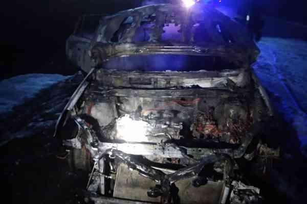"""Под Олефировкой огонь полностью уничтожил автомобиль """"Toyota"""""""